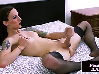 Transitioning femboy jerks dick in stockings
