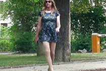 In very short dress outside - Crossdresser in public