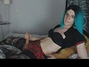 Sexy t-girl jerks her big cock